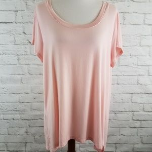 H by Halston Essential QVC Tee Shirt Pink Short